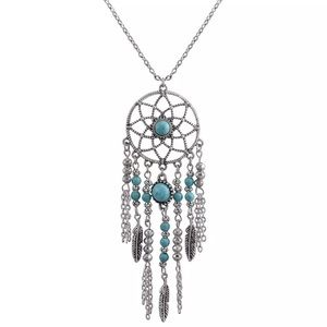 New Silver Turquoise Dreamcatcher Necklace